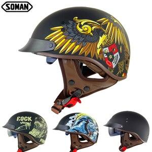 Ретро-шлем для скутера с полулицевой поверхностью, винтажный шлем для мотоциклистов, антибликовые козырьки, шлемы для мотоциклистов