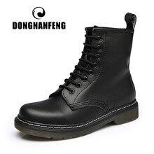 DONGNANFENG Women's Ladies Female Men Ankle Genuine Leather Shoes Boots Paltform Plush Fur Warm Winter Plus Size 43 44 Lace Up