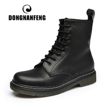 Shoes Boots Lace-Up Ankle Plush-Fur Paltform DONGNANFENG Female Winter Genuine-Leather