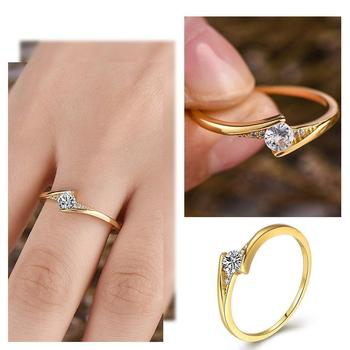 Fashion 14K Gold Round Cut 1ct White Sapphire Diamond Wedding Solitaire For Unisex Jewelry Engagement Personality Gift Ring Z8E4 image