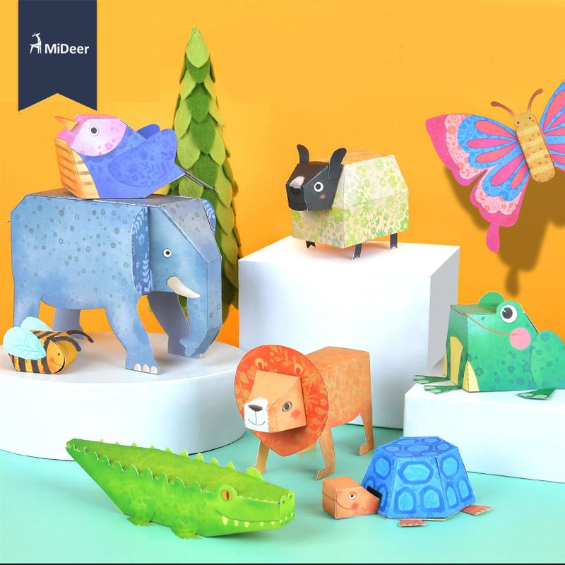 Mideer Origami Paper Animals Craft Kits Kids Early Learning Educational Toys For Children Elephant Bird Lion Turtle Craft Gift