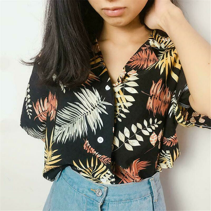 Hot Sale New Chiffon Womens Casual Blouses Top Female Hawaiian Fashion Floral Short Sleeve Shirts Ladies Summer Loose Tops