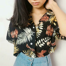 Hot Sale New Chiffon Womens Casual Blouses Top Female Hawaiian Fashion Floral Short Sleeve