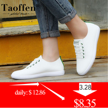 TAOFFEN Women Sneakers Vulcanized Shoes Lace Up Round Toe Ca