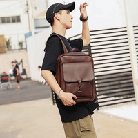 New backpack Korean fashion men's backpack retro crazy horse leather bags
