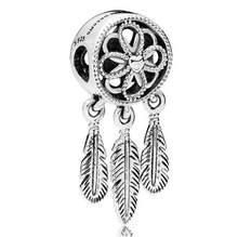 Genuino 925 prata esterlina charme a céu aberto flor pena sonho apanhador espiritual pingente talao apto pan pulseira