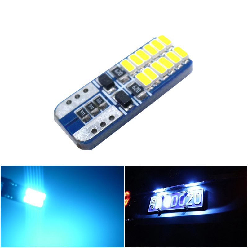 <font><b>T10</b></font> <font><b>24</b></font> <font><b>SMD</b></font> 3014 LED W5W 192 168 501 White Ice Blue Auto Tail Side Lamp Car Marker Light Dome Reading Bulb Canbus No Error image