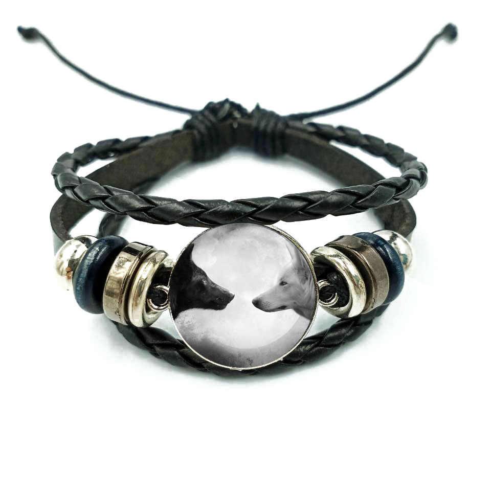Wilk w błękitne niebo bransoletka wielowarstwowa skórzana bransoletka wisiorek kobiety mężczyźni moda świecące bransoletki wilk biżuteria