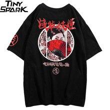 2019 Harajuku T shirt Streetwear Männer Japanischen T Hemd Ukiyo E Geisha Hip Hop Sommer T Shirt Baumwolle Kurzarm Tops Tees hipster