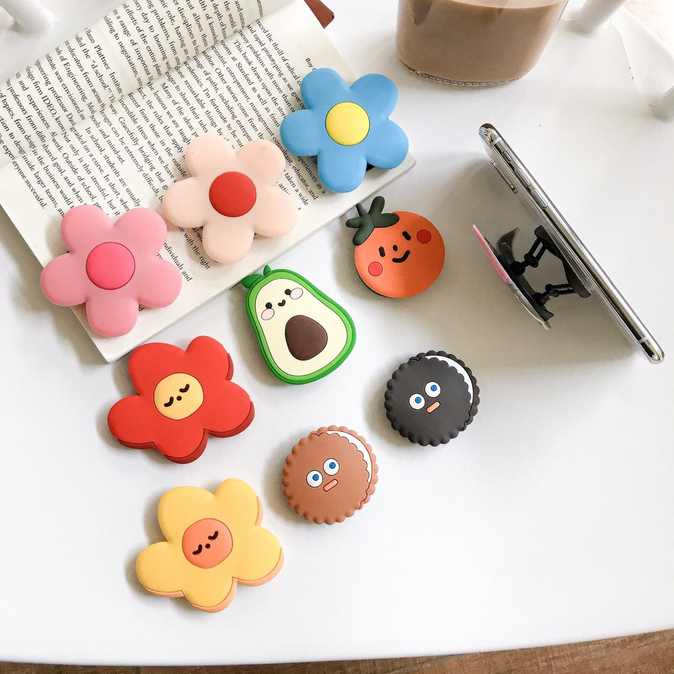 Universal Foldable Bracket Holder For IPhone Samsung Huawei Xiaomi OPPO VIVO Cute Orange Avocado Flower Folding Ring Holder