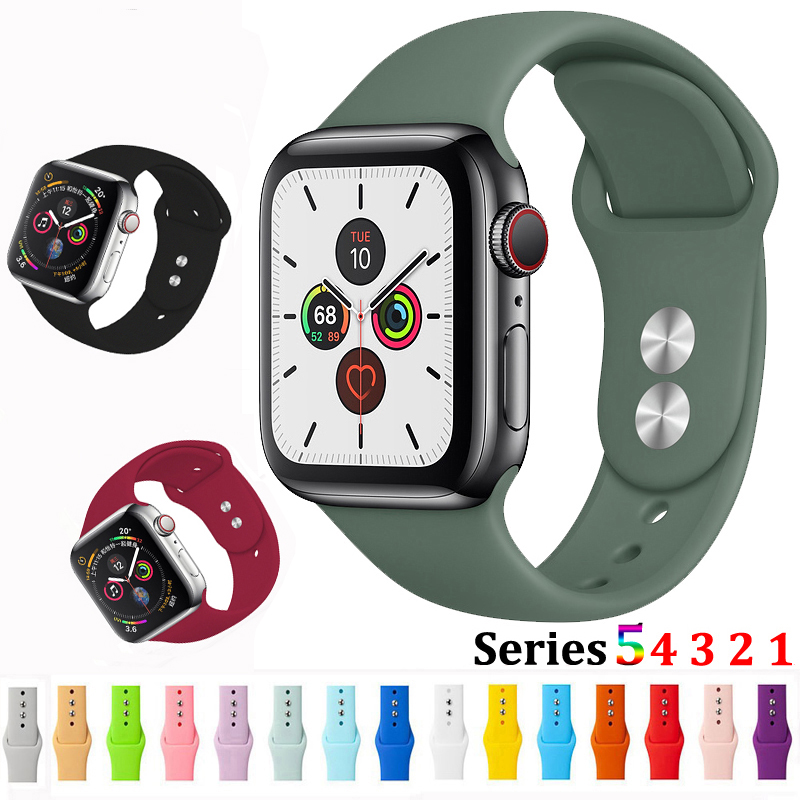 Strap For Apple Watch 5 4 Band Correa Apple Watch 44mm 40mm 42mm 38mm Iwatch 5 4 3 2 1 Bracelet Silicone Watchband Belt