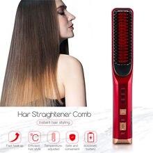 Peigne professionnel à lisser les cheveux sans fil, 3 températures, brosse en fer à lisser, Rechargeable par USB