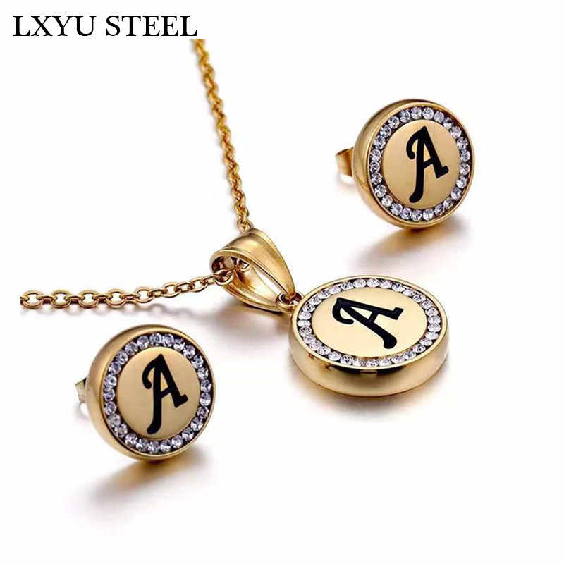 Wholesale Hot Sale 26 Letter Necklaces Pendant Earrings Sets Collier Female Alphabet Initial CZ Pendant Necklace Jewellery Gift