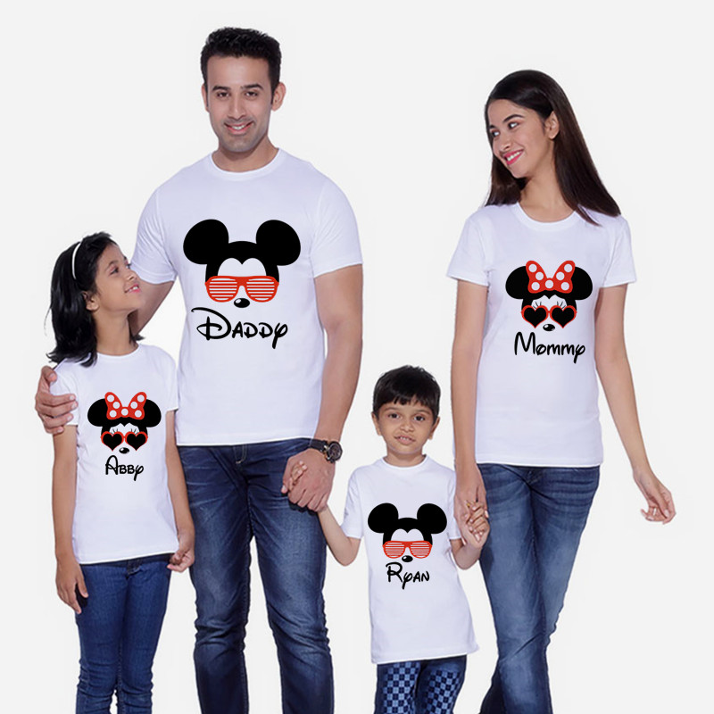 Mouse Head Family Matching Clothes Mommy And Me Clothes Minnie Glasses TShirt Boys Clothes Mickey Short Sleeve T-Shirt Christmas
