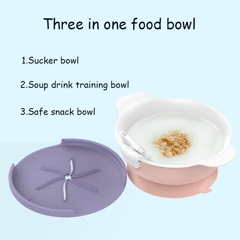 Platos para bebés cuenco de alimentación de silicona plato de bebé vajilla de comida para niños ventosa de fijación BPA cuencos de alimentación sin cena