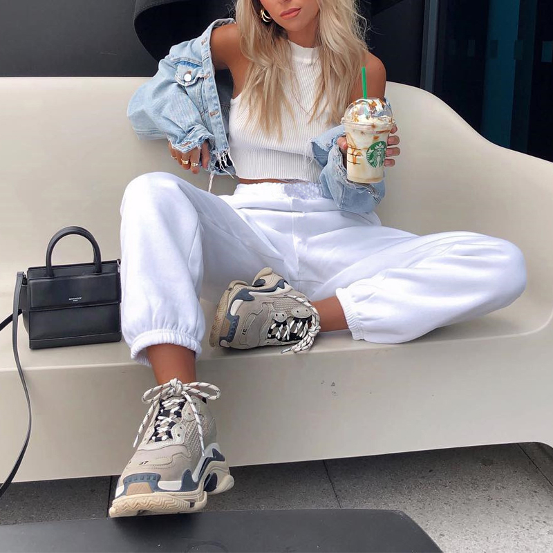 HEYounGIRL Thick Thin Casual Loose Sweatpants Women Solid High Waist Track Pants Capris Pockets Fashion Long Trousers Streetwear