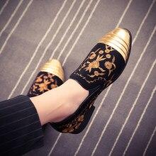 Nouvelle mode haut en or et orteil en métal hommes chaussures habillées en velours italien hommes chaussures habillées mocassins à la main chaussures plates Zapatos Hombre