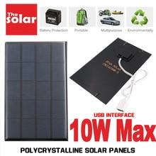 USB لوحة طاقة شمسية في الهواء الطلق 5 فولت 2 واط 5 واط 7.5 واط 10 واط المحمولة شاحن بالطاقة الشمسية جزء تسلق شاحن بوليسيليكون اللوحي مولد الطاقة الشمسية السفر