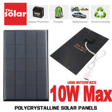 USB Solar Panel Outdoor 5V 2W 5W 6W 10W Portable Solar Charger Pane Climbing Charger Polysilicon Tablet Solar Generator Travel