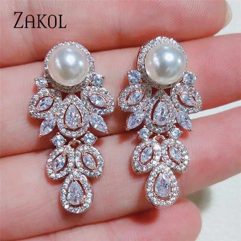 ZAKOL New Fashion Austrian CZ Zirconia Crystal Dangel Earrings For Women Mom Luxury Bridal Wedding Party Jewelry Gift FSEP2466