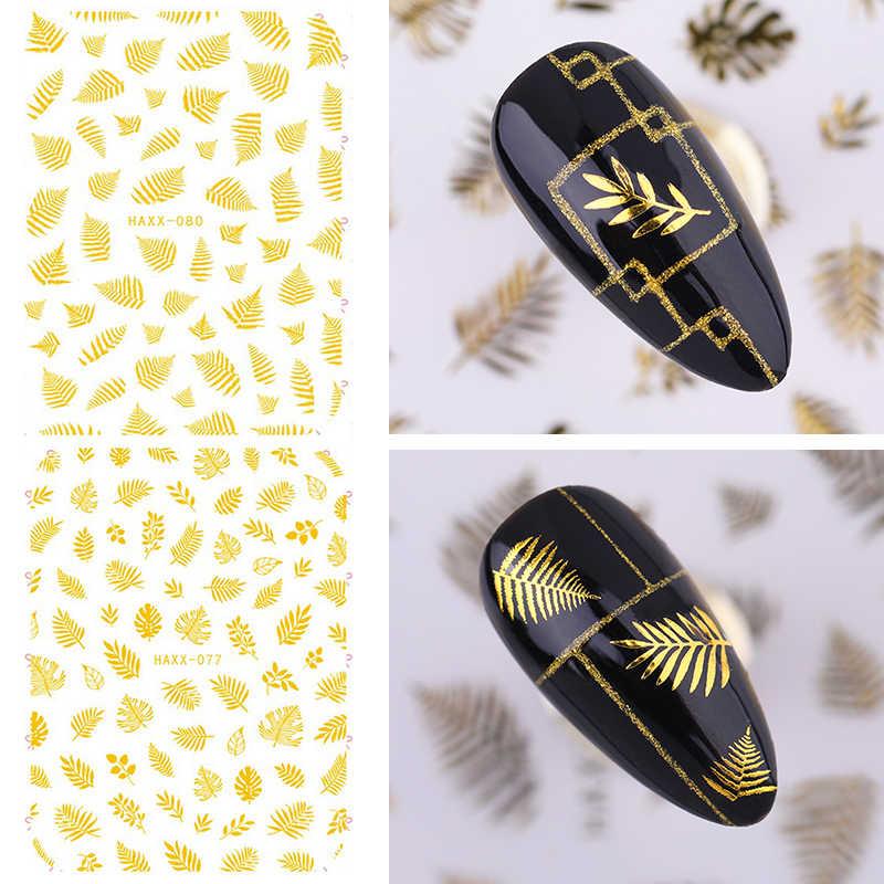 Pegatinas para uñas, serie de hojas y flores láser doradas y adhesivos para manicura 3D, pegamento adhesivo para decoración artística de uñas 1 unidad