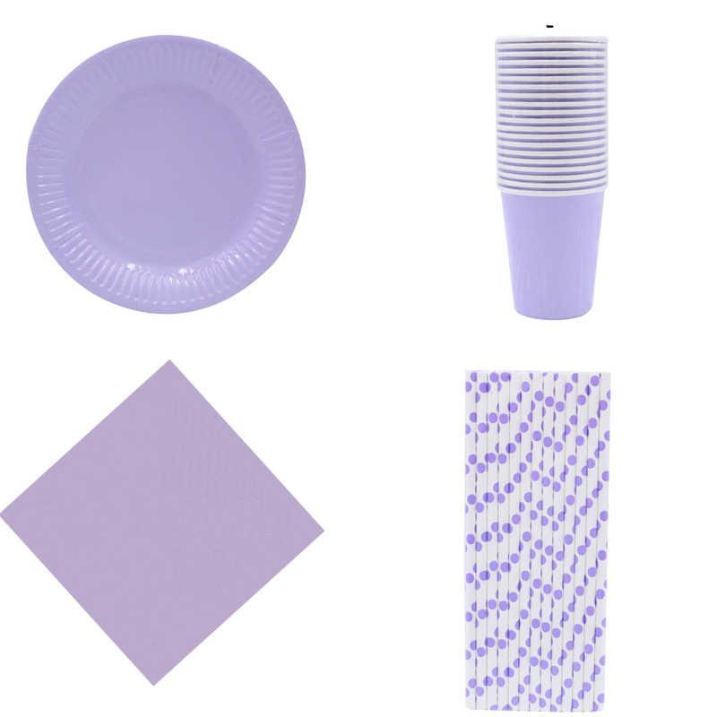 Festa de aniversário copos palhas placas para o favor da menina artigos de mesa descartáveis roxos sólidos do partido do evento