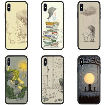 YNDFCNB Daydream girl and her rabbi Phone Case for iPhone 11 pro XS MAX 8 7 6 6S Plus X 5 5S SE XR Soft TPU case image