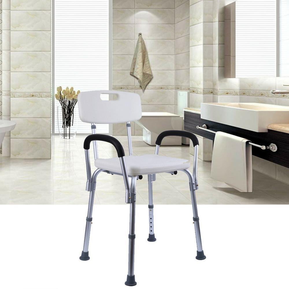 Yonntech Shower Stool Height Adjustable Shower Chair Bath Seat With Backrest & Armrest