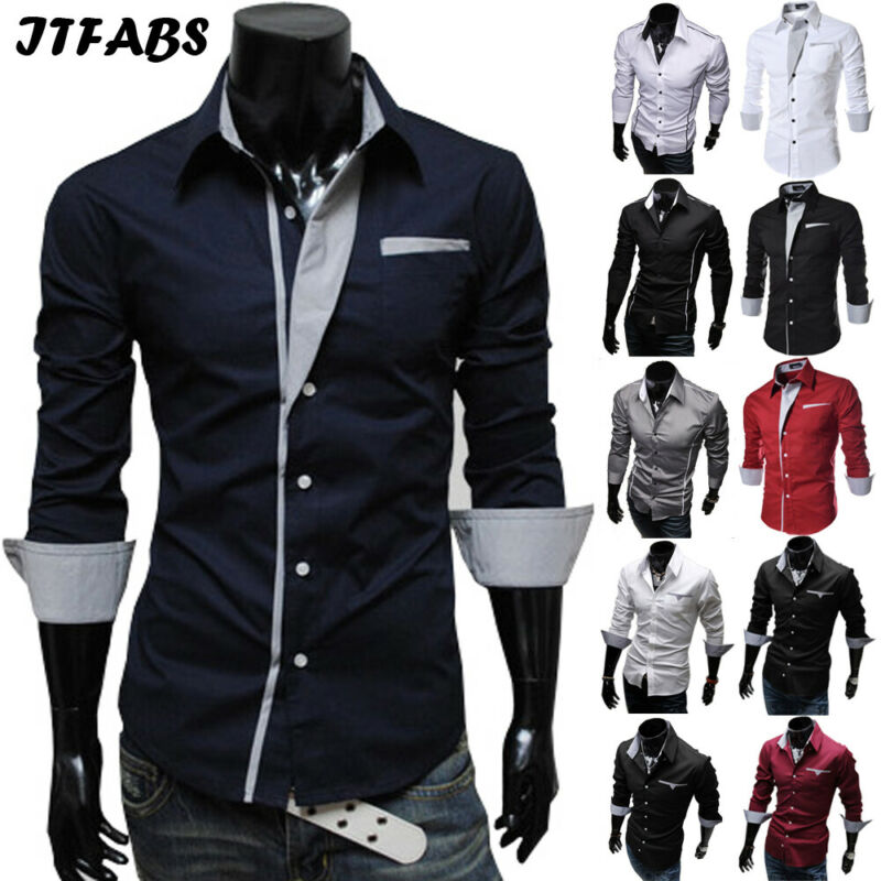 Luxury 2019 Men Casual Long Sleeved Shirts Slim Fit Male Social Business Dress Shirt Brand Men Clothing Camisas Para Hombre Hot