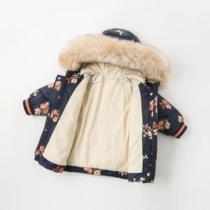 Image 3 - DBJ11915 דייב bella חורף תינוק בנות ברדס פרחוני תינוק מעיל מרופד מעיל ילדים באיכות גבוהה מעיל ילדים מרופד הלבשה עליונה