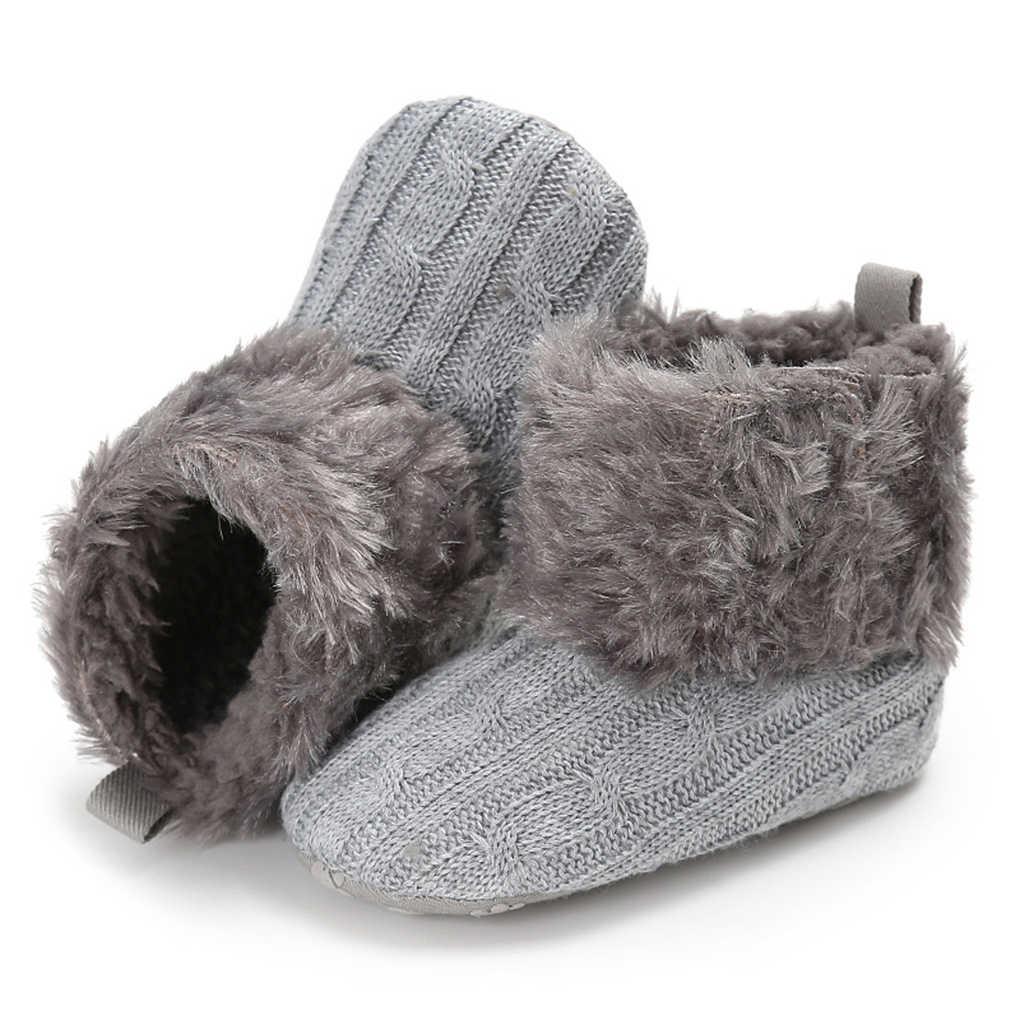 0-18 месяцев; вязаная обувь для новорожденных мальчиков и девочек; зимние сапоги; теплая меховая обувь для младенцев; мягкая подошва; предходунки