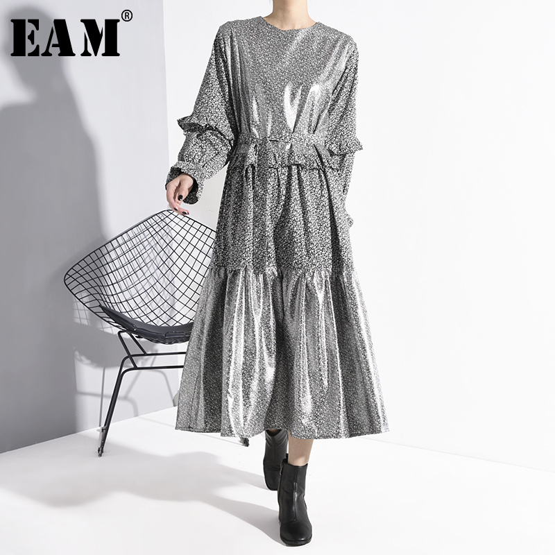 [EAM] Women Pattern Ruffles Split Temperament Dress New Round Neck Long Sleeve Loose Fit Fashion Tide Spring Autumn 2020 1N24709