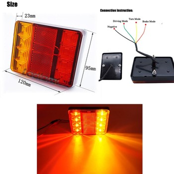 1 para 12-80V 8 LED światło tylne samochodu tylne lampy para łódź tylne części wodoodporne dla przyczep kempingowych UTE Campers Truck oświetlenie samochodowe tanie i dobre opinie Inne 4 7 x 3 7 x 0 9 (LxWxH) 0134-8LED Tail Light Housing ABS Lens PC Tail Light Assembly Rear Lights 8 LED Tail Lamp