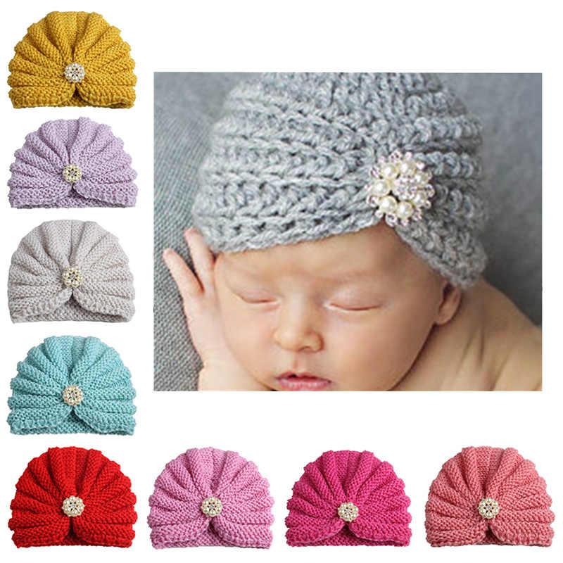 ฤดูหนาวที่อบอุ่นถักหมวกเด็กหมวกลูกอมสีเด็กทารก Beanie Bonnet ทารกแรกเกิดหมวกหมวกฤดูหนาวหมวกสำหรับชายหญิงหมวกเด็ก