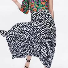 Long Dot Print Chiffon Skirt Women Autumn Casual High-waist A-line Pleated Skirts For Girls