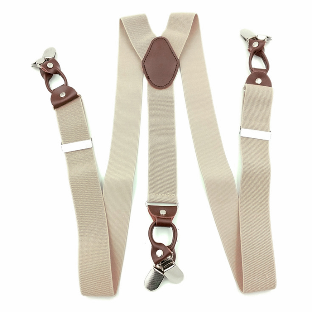 Men Leather Alloy Across Clip On Elastic Commercial Vintage Casual Accessories Portable Suspenders