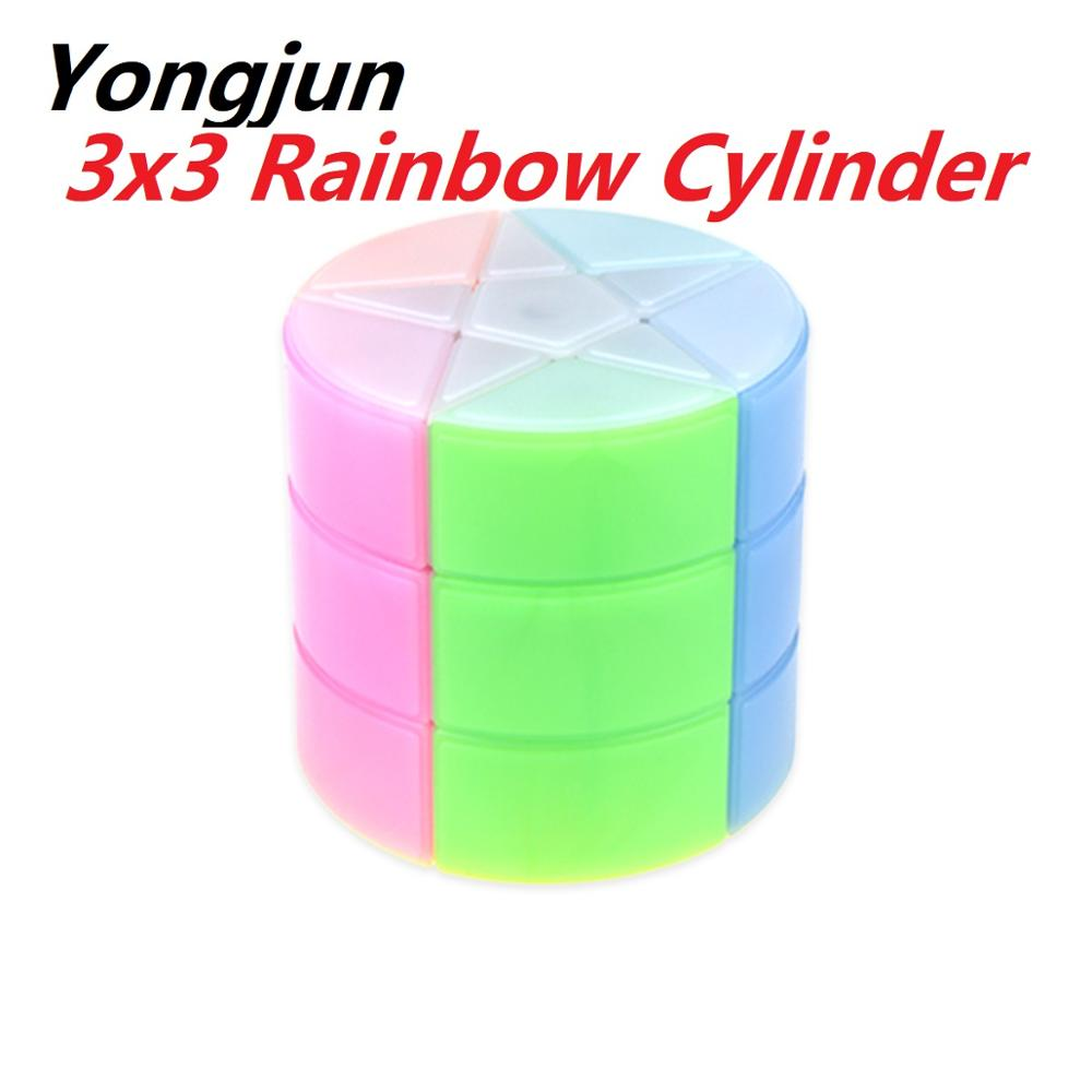 Newest YJ yongjun 3x3 rainbow Cylinder Magic Cube Puzzle 3x3x3 cubo magico educational Toys for students 7 Colorful Star Octagon