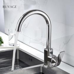 RUYAGE смеситель для кухни с поворотом на 360 градусов, изогнутая выпускная труба, водопроводный кран, сантехника, латунный кран для раковины RY07