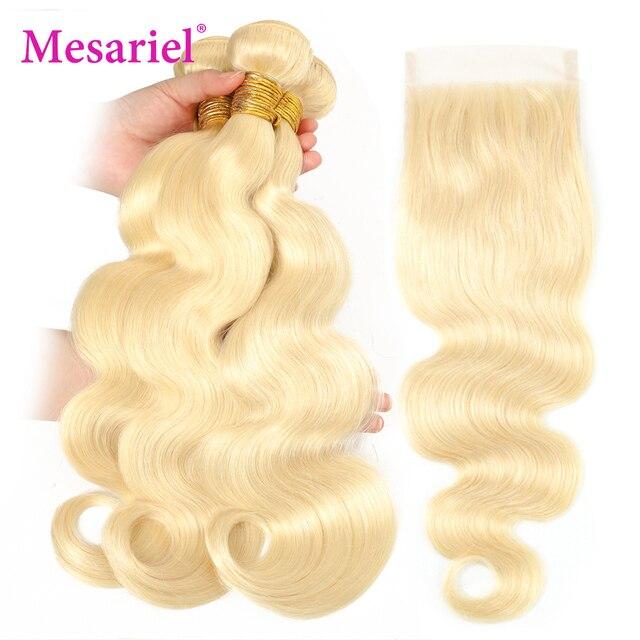 Mechones de pelo rubio de Mesariel con cierre brasileño onda del cuerpo Remy mechones de tejido de pelo 613 Rubio de miel 3 4 mechones con cierre M