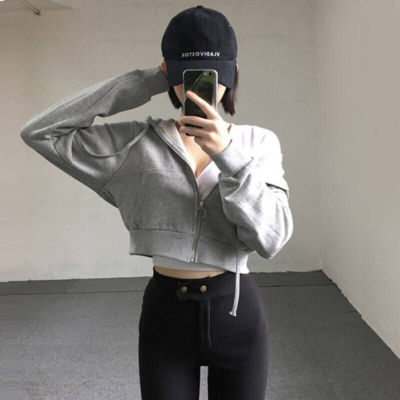 Women Spring Crop Top Causal Short  Hooded Jacket