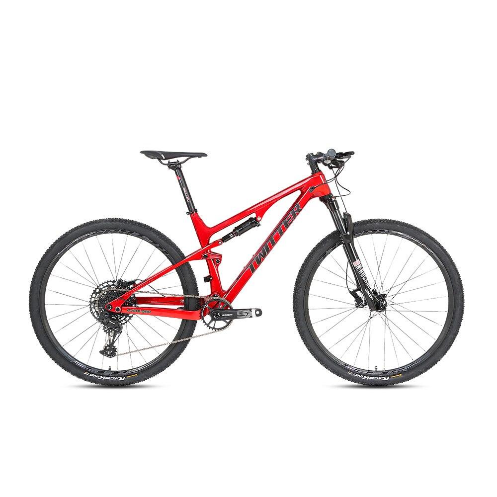 Горячая распродажа Оптовая Продажа TWITTER перегрузки 29er полный Подвеска велосипеда углеродное волокно горный велосипед