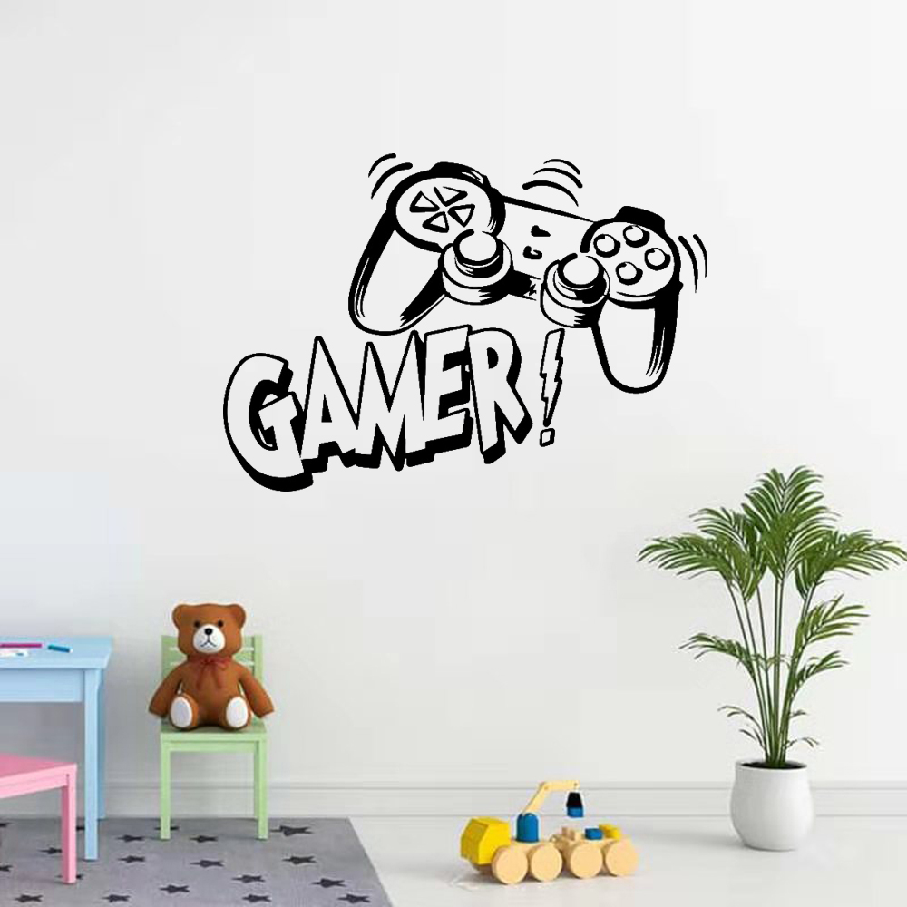 Carved Gamer Wall Sticker Vinyl Mural Wallpaper For Kids Room Decoration Decals Boys Ps4 Gaming Poster Decor Door Sticker