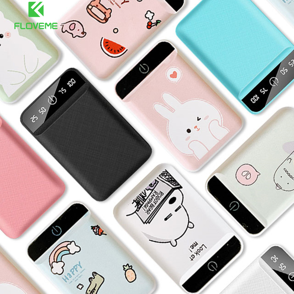 FLOVEME Cute <font><b>Power</b></font> <font><b>Bank</b></font> 10000mAh Portable Charger For iPhone Xiaomi <font><b>mi</b></font> Mobile External Battery Powerbank <font><b>10000</b></font> mAh Poverbank image