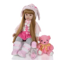 Soft long hair princess Simulation doll 3/4 Silicone Reborn Dolls Realistic Girl Doll Toy For children Newborn Bebes Reborn gift