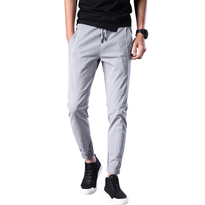 2018 Men'S Wear New Products Comfortable Versatile Casual Elastic Band Capri Pants Simple Men Ankle Banded Pants Men's 6685