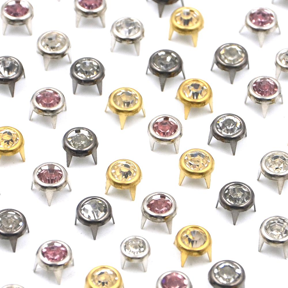 50Pcs All Size Round Crystal Studs Spot Spikes Rivets Nailhead Fashion DIY Leather Craft For Shoes Clothing Bag Parts Decoration