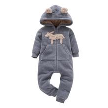Newborn Costume Baby Romper Winter Clothes Toddler Onesie Zipper Overalls Hooded-Jumpsuit