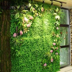 Image 4 - Painéis de parede de 2m x 1m, painéis de parede de flores artificiais, folhas tropicais de plástico, decoração de casa, casamento, faça você mesmo acessórios