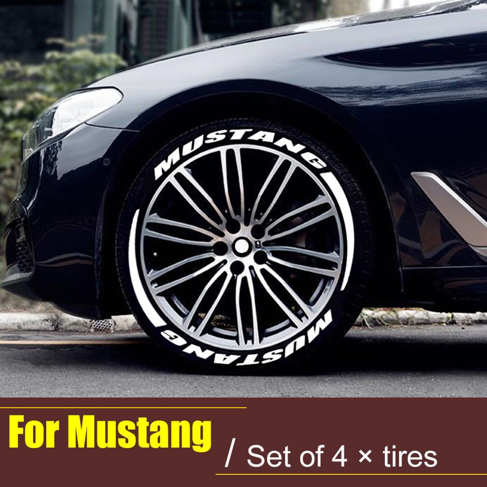 4Pcs Car Reflective Wheel Label Hub Sticker 3D Logo Universal Tire Letterings Stickers Ford Mustang Car Styling Kit Dropshipping