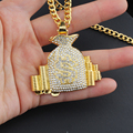 Hip Hop Crystal Letter Pendant Gold Color Necklace Men's Jewelry Icy Bling Couple Accessories